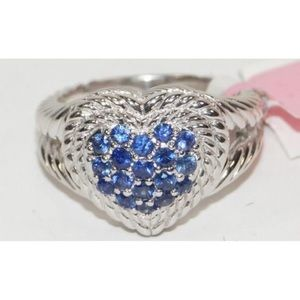 Judith Ripka Sapphire Pave Heart Ring .925 Silver